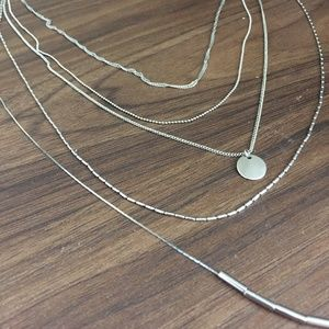 Silver Layered Necklace with Circular Charm